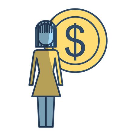 Businesswoman dollar coin money symbol vector illustration pictogram style
