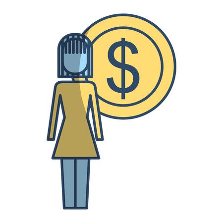Style de pictogramme illustration femme d'affaires dollar monnaie symbole vecteur illustration Banque d'images - 91940290
