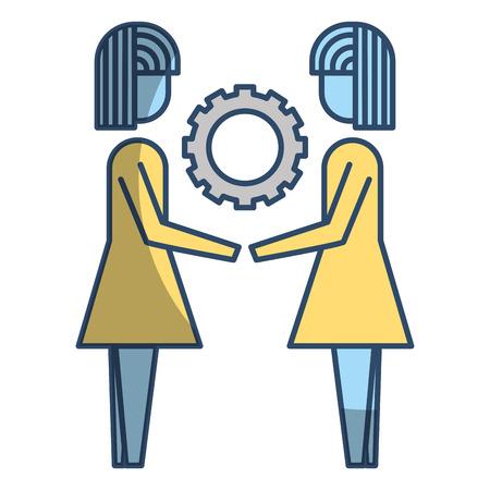 Two business women holding gear teamwork concept vector illustration