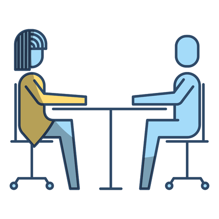 Woman and man business sitting communication team vector illustration Stock Vector - 91940470