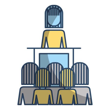Meeting business people boss podium presentation vector illustration Illustration