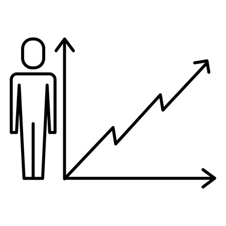 Businessman with business graph growth arrow vector illustration thin line design