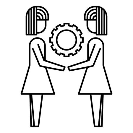 two business women holding gear teamwork concept vector illustration thin line design