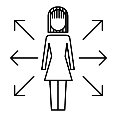 businesswoman options arrows direction choise vector illustration  outline image
