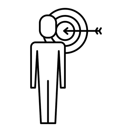 businessman with targert arrow solution marketing vector illustration   thin line design Stock Vector - 91953702