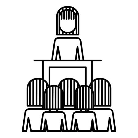 meeting business people boss podium presentation vector illustration outline image