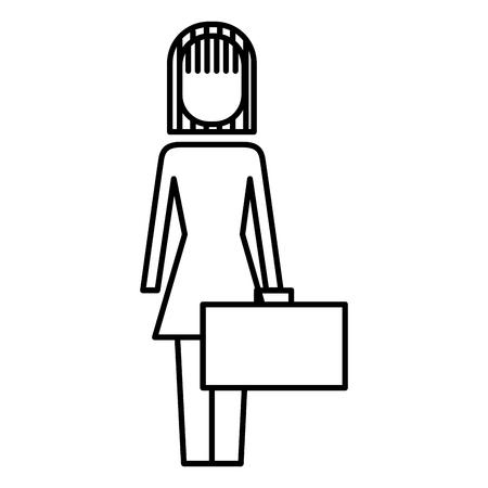 Empresária, segurando, pasta, ficar, personagem, vetorial, ilustração, esboço, imagem Foto de archivo - 91953717