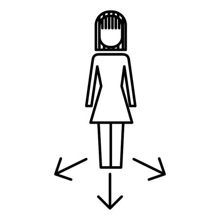 businesswoman options arrows direction choise vector illustration  outline image