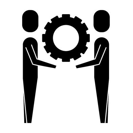 two businessmen holding gear teamwork concept vector illustration pictogram pictogram