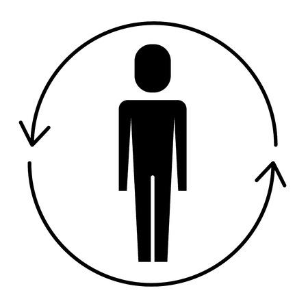 ソリューションベクトルイラストピクトグラムの周りに矢印を持つビジネスマン