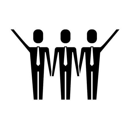Three men holding hands teamwork successful vector illustration pictogram