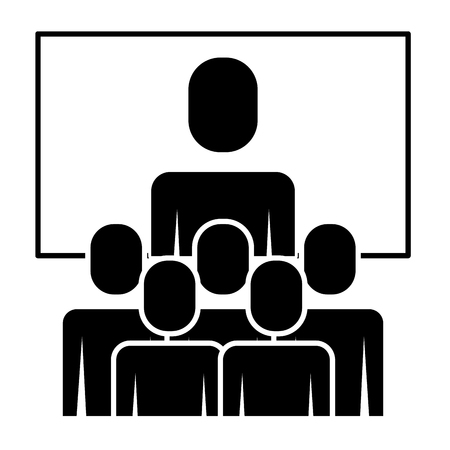 Business meeting manager group board vector illustration pictogram