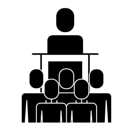 A meeting business people boss podium presentation vector illustration pictogram