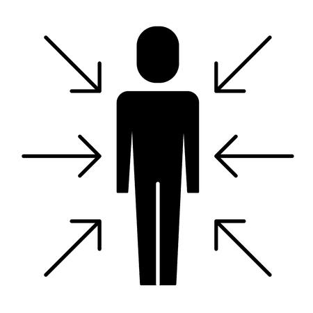 화살표와 함께 서있는 사업가 관심의 벡터 일러스트 레이 션의 그림 충돌 픽토그램 일러스트