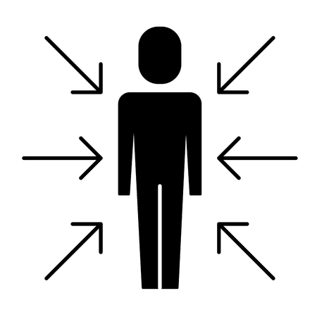 businessman standing with arrows conflict of interest vector illustration pictogram
