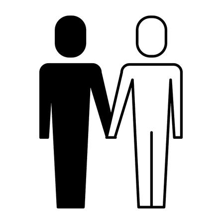 A portrait business people teamwork partnership vector illustration pictogram