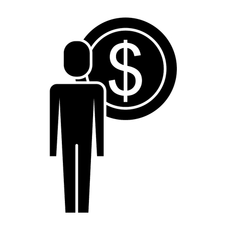 Businessman dollar coin money symbol vector illustration pictogram Çizim