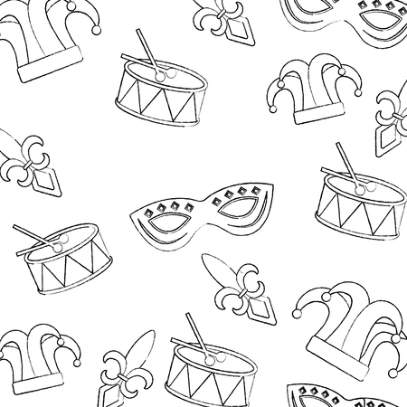 Seamless pattern of carnival icons Illustration