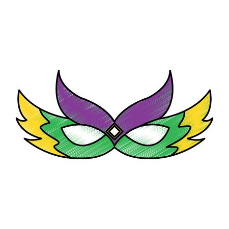 Mask mardi gras carnival icon isolated on white.  vector illustration design  イラスト・ベクター素材
