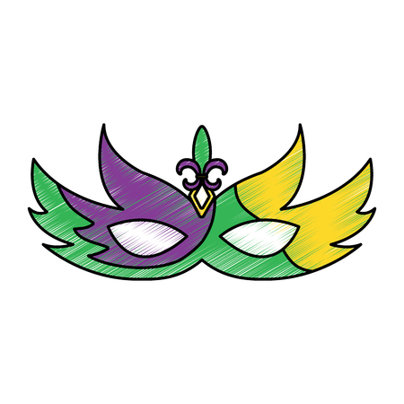 mask mardi gras carnival icon image vector illustration design  sketch style