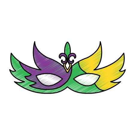 mask mardi gras carnival icon image vector illustration design  sketch style