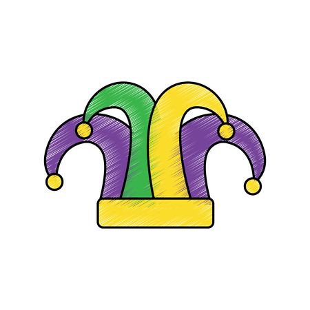 hat mardi gras carnival icon image vector illustration design sketch style