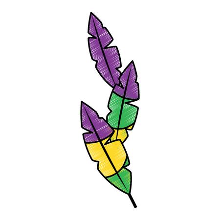 Plumes tropicales icône image vecteur de conception d & # 39 ; esquisse de style de croquis Banque d'images - 92072844