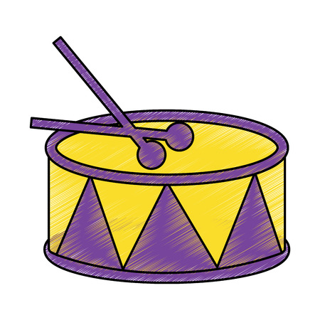drum with sticks icon image vector illustration design  sketch style Illusztráció