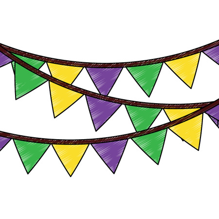 pennant banner icon image vector illustration design  sketch style