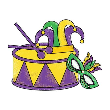マスクハーレクイン帽子マルディグラカーニバルアイコン画像ベクトルイラストデザインスケッチスタイルでドラム  イラスト・ベクター素材