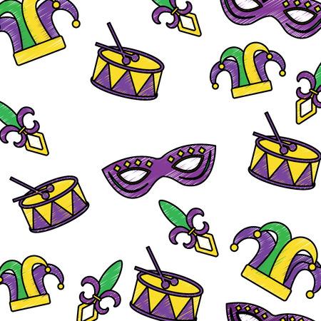 drum mask hat fleur de lis mardi gras carnival icon image vector illustration design  sketch style