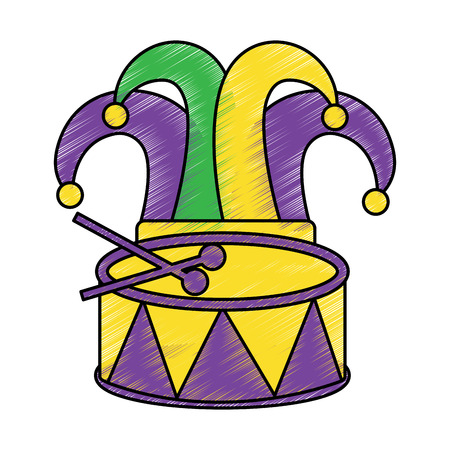 hat and drum mardi gras carnival icon image vector illustration design sketch style Ilustrace