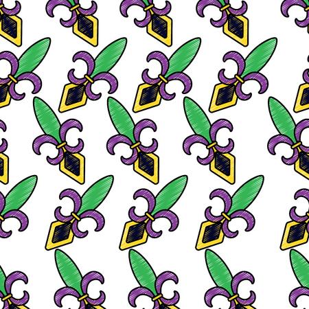 fleur de lis mardi gras carnival pattern image vector illustration design  sketch style