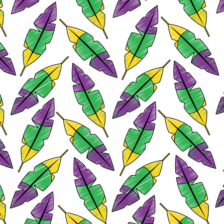 feathers tropical pattern image vector illustration design  sketch style