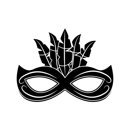 mask decorated carnival accessory icon image vector illustration design  black and