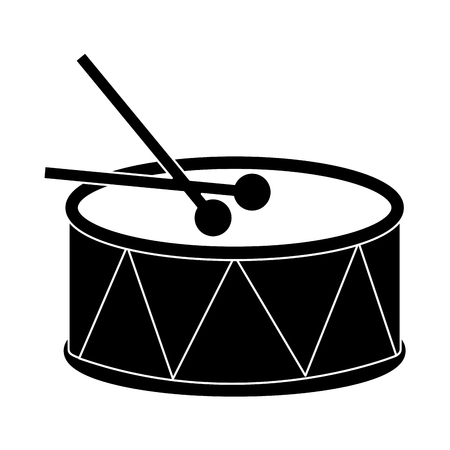 drum with sticks icon image vector illustration design  black and