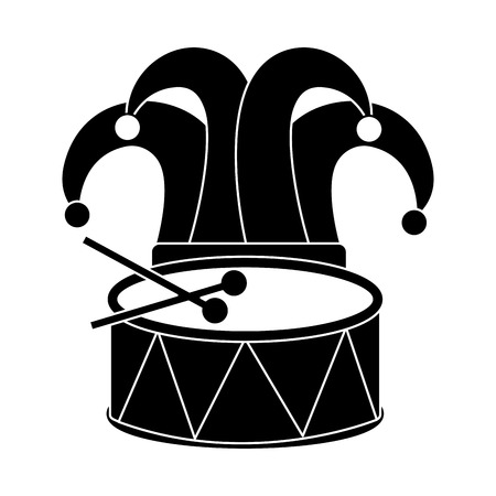 drum and hat carnival accessory icon image vector illustration design black and Illustration