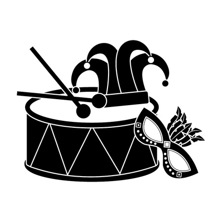 drum mask hat carnival accessory icon image vector illustration design black and