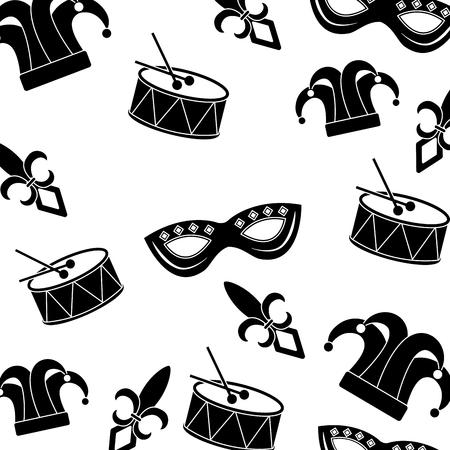 drum mask hat fleur de lis carnival accessory pattern image vector illustration design black and