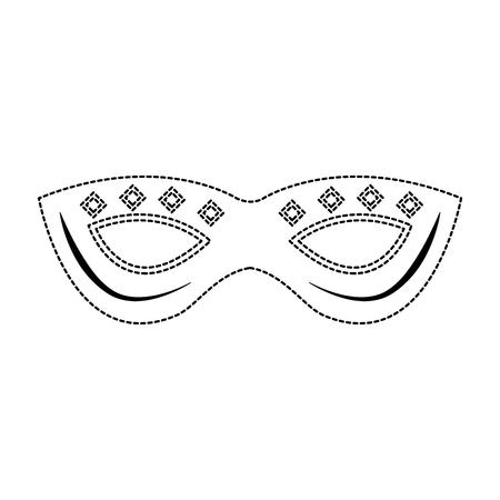 mask decorated carnival accessory icon image vector illustration design  black dotted line Illustration