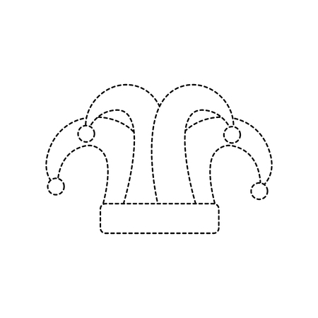 hat carnival accessory icon image vector illustration design black dotted line Illustration