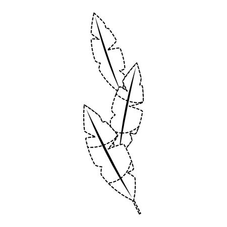 Plumes tropicales icône image conception vecteur pointillé ligne noire illustration Banque d'images - 92072283