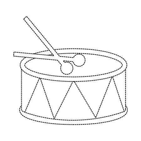 スティック付きドラム アイコン 画像 ベクトル イラストデザイン 黒点線
