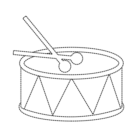 drum with sticks icon image vector illustration design  black dotted line