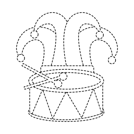 drum and hat carnival accessory icon image vector illustration design black dotted line Illustration