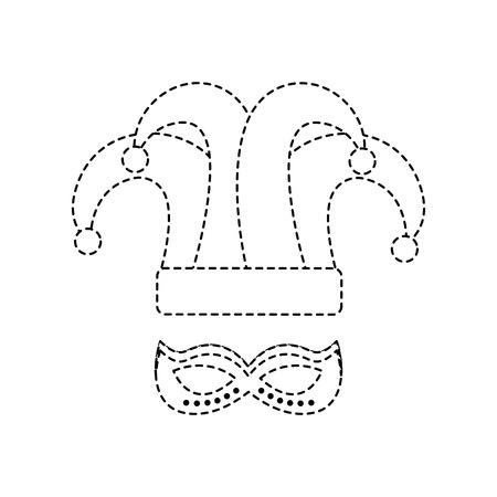 모자 및 마스크 카니발 액세서리 아이콘 이미지 벡터 일러스트 디자인 검은 점선 일러스트