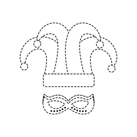 hat and mask carnival accessory icon image vector illustration design black dotted line