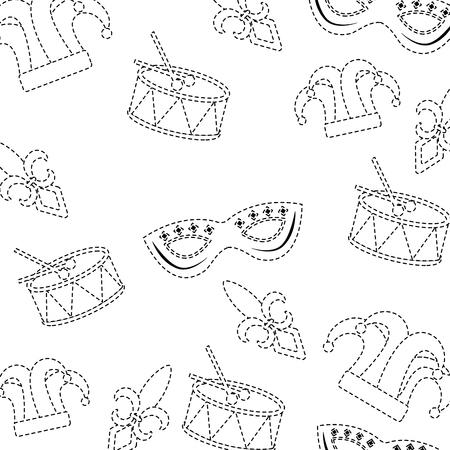 drum mask hat fleur de lis carnival accessory pattern image vector illustration design black dotted line