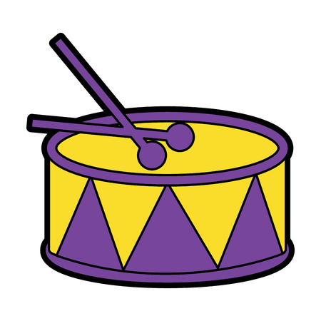 スティック付きドラムアイコン画像ベクトルイラストデザイン