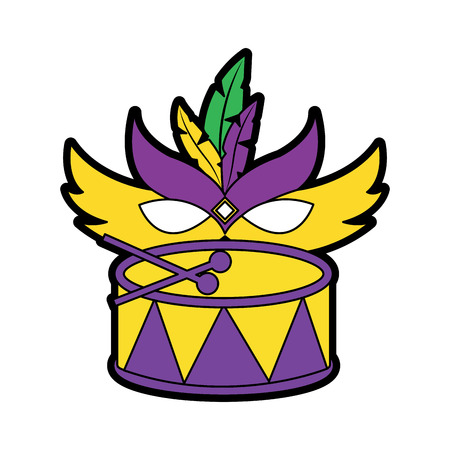 drum with mask mardi gras carnival icon image vector illustration design